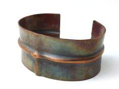 Ridge Fold Formed Copper Bracelet Cuff Earthy by HAMMERHEADdesigns,