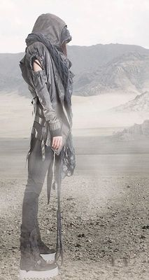 """Previous pinner: """"Wanderer of the wastes.. Dystopian Fashion Whoa.. A bounty hunter or assassin??"""""""