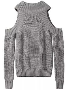 Grey Off the Shoulder Knit Sweater