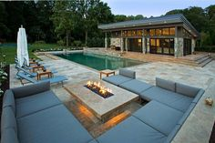 Fire pit seating area  - Backyard Fire Pits