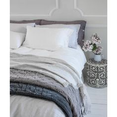 Pale Grey Velvet Throw | Grey Bedspread