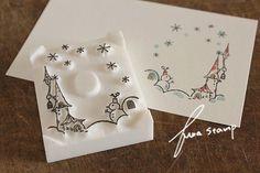 消しゴムはんこ : ふわふわ堂 Eraser Stamp, Diy And Crafts, Paper Crafts, Stamp Carving, Handmade Stamps, Artist Trading Cards, Tampons, Gift Tags, Hand Carved