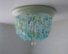 Sea Glass Chandelier FLUSH MOUNT Coastal Decor Beach Glass Ceiling Fixture