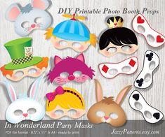 DIY In Wonderland Party printable masks photo booth props PP006 Alice Adventures instant download kids masks