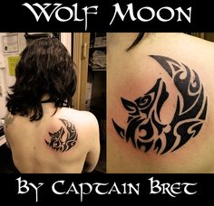 http://www.tribal-celtic-tattoo.com/New_Folder/wolfMoon%20tribal.jpg--- owl instead of a wolf. Wolf Moon, Celtic Owl Tattoos, Celtic Tattoo Wolf, Back Tattoos, Futur Tattoo, Tattoo Celtic Moon, Celtic Wolf Tattoo, Celtic Moon Tattoo, Tribal Tattoo
