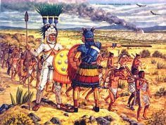 """An Aztec invasion column divides (AD 1450)"""