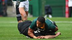 Nehe Milner-Skudder suffered a dislocated shoulder in the tackle of Springboks winger Courtnall Skosan during the test ...