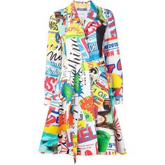 Moschino printed trench coat ($3,215) ❤ liked on Polyvore featuring outerwear, coats, multicolour, pleated coat, print trench coat, moschino, pattern coat and colorful trench coats