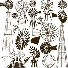 Windmill Clipart and Stock Illustrations. Windmill vector EPS illustrations and drawings available to search from thousands of royalty free clip art graphic designers. Windmill Tattoo, Windmill Drawing, Farm Windmill, Windmill Decor, Old Windmills, Painting Inspiration, Art Projects, Art Drawings, Stencils