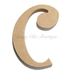 "Unfinished Wooden Lowercase Letter ""c""- Curlz Font Letter C, Wooden Letters, Lower Case Letters, Wooden Diy, Lowercase A, Fonts, Products, Decorated Letters, Wood Letters"