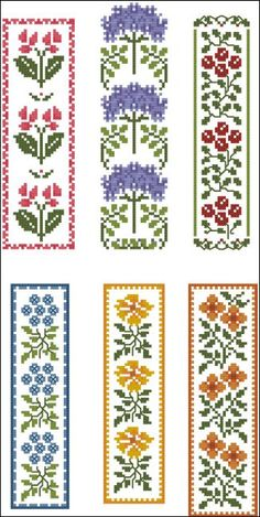 Floral Bookmarks : MiniCrossStitch, The World of Small Stitchery
