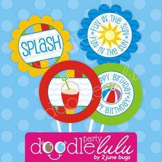 DIY Printable Beach Bash Pool Party Circles / CUPCAKE toppers - 8 Designs from DOODLELULU by 2 june bugs { #printableparty #2jbdl #2jbdlpool }