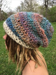 https://www.etsy.com/shop/TheMoonFaes?ref=search_shop_redirect  Handmade beanie hat one of a kind dreadlocks dreads crochet simple fashion hats rainbow slouchy slouch