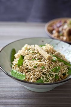 Delicious veggie noodles with peanuts and peanut butter sauce