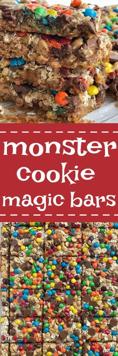 All the classic flavors you love in a monster cookie but in a magic cookie bar! These monster cookie magic bars have a salty sweet graham cracker crust and then loaded with oats, peanut butter chips, chocolate chips, mms and drizzled in sweetened conden Monster Cookie Bars, Magic Cookie Bars, Magic Bars, Cookie Brownie Bars, Baking Recipes, Cookie Recipes, Cookie Flavors, Fun Desserts, Dessert Recipes
