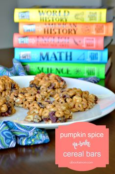 Pumpkin Spice No Bake Cereal Bars are the perfect brain food for after-school study time. A fall treat the whole family will enjoy.