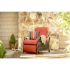 Martha Stewart Living Cedar Island All-Weather Wicker Patio Recliner with Dragonfruit Cushion-DY4035-RC - The Home Depot