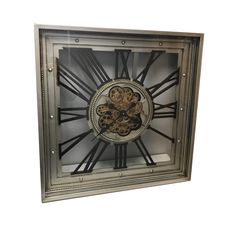LARGE SQUARE MOVING GEAR WALL CLOCK