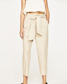 TROUSERS WITH BOW BELT from Zara