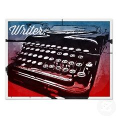 Writer with Typewriter Blue Red Pop Art Poster | Cool Posters