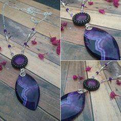 Long purple agate and glass necklace by BeadCaveMk3 on Etsy
