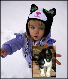 Custom crocheted family pet hat for your child.  Cat earflap beanie.