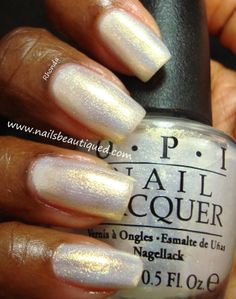 OPI Holiday 2013 Mariah Carey Collection, Ski Slope Sweetie over Essie Marshmallow | Nails Beautiqued