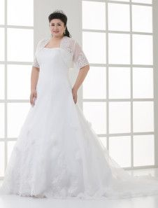 Ivory A-line Strapless Flower Embeded Tulle Plus Size Wedding Dress