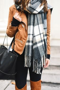 Fall outfit: camel suede biker jacket, black-white plaid scarf, black slim pants, black bag, camel overknee boots