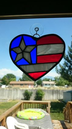 Stained glass heart flag suncatcher with star and stripes