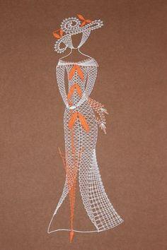 Mujer con sombrilla Bobbin Lace Patterns, Crochet Patterns, Crochet Edgings, Bead Loom Patterns, Crochet Motif, Crochet Shawl, Arte Linear, Bobbin Lacemaking, Lace Art