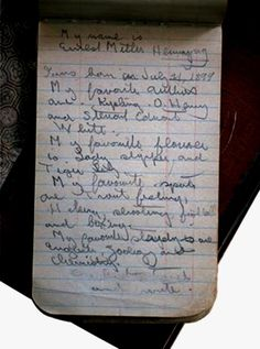 Ernest Hemingway - The notebook entry reads: Diary Entry, Art Of Manliness, School Notebooks, Writers Write, Writers Notebook, Pocket Notebook, Handwritten Letters, Charles Darwin, Ernest Hemingway