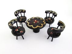 Vintage Toy Dollhouse Furniture, Table and Chairs, Miniature Wooden Doll Furniture, Black Table