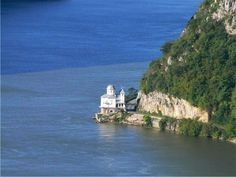 The Mraconia Monastery built in Mehedinti, right on the shore of the Danube.  Romania