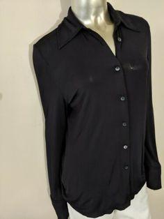 89e7d9b2e Details about Gucci Women's Long Sleeve Button Down Top Cotton Blue Size 42