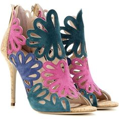 Oscar de la Renta Jeralina Suede Sandals ($1,016) ❤ liked on Polyvore featuring shoes, sandals, heels, scarpe, multicoloured, heeled sandals, multi colored shoes, multi color shoes, colorful shoes and suede shoes