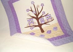 Owl Quilt, Owl Blanket, Organic Nursery Bedding, Personalized Baby Shower Gift, Child Decor, pink beige white  HET