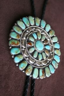 Large Turquoise Sunburst in Sterling Silver Bolo