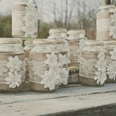 Create unique weddings with the DIY wedding ideas on DIY Burlap and lace mason jar. Lace and burlap wedding. Find more Creative & unique wedding ideas on lace mason jar, rustic wedding Lace Mason Jars, Rustic Mason Jars, Mason Jar Crafts, Bottle Crafts, Fun Wedding Invitations, Wedding Party Favors, Wedding Table, Diy Wedding, Wedding Rustic