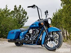 HD Bagger Blue - BIke, BLue, Custom, Hd