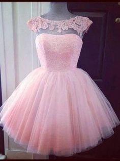 29e661a404f Elegant Bateau Neck Beading Scoop Pink Short Tulle Prom Homecoming Dress