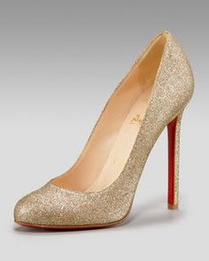 Christian Louboutin Gold Glitter Pumps as seen on Sex and the City 2