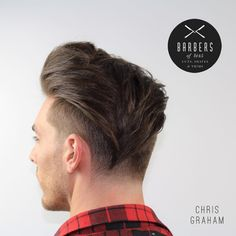 Another modern undercut that is a mashup of the pompadour (front) and the undercut that is very long in the back and cut into a V shape. To get this look simply blow the hair dry and use a light hold pomade.