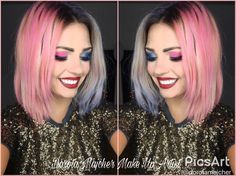 Make Up makeup ColorS blue Pink paradise carnaval karnawał sylwester makijaz pastele harleyqueen harley harleyqueen mistic witch magic party partmakeup