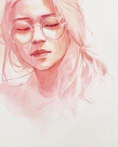 art by on insta Kpop Drawings, Cool Art Drawings, Watercolor Illustration, Watercolor Art, Watercolor Portraits, Pretty Art, Portrait Art, Art Images, Amazing Art