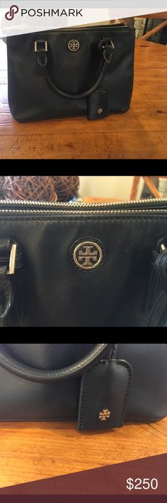 Reduced!  Tory Burch Small Robinson Zip Tote Tory Burch small Robinson zip tote. Beautiful top handle bag in good shape but with missing zipper pull that could easily be replaced.  Saffiano leather.  No crossbody strap available.  11L X 7.3H.  Original retail $375 Tory Burch Bags Totes