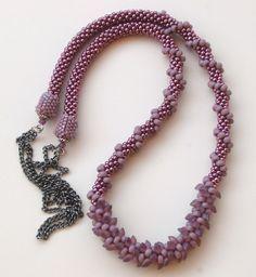 long magatama bead necklace | Toho 8/0, toho 6/0, long magatama