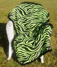 Neon Green & Black Zebra Fleece Blanket with Black Fur Edge. Etsy.