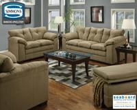 """Simmons 6565 Pillow Top Sofa Set 6565 Sofa collection is covered in a heavy duty microfiber fabric. Solid wood accent legs add to the style and look of this collection. Back Pillows filled with highest quality fiber for added seating comfort and wear. Cushions are able to be rotated for additional wear and life of the cushions. Hardwood frame with 1.8 Density seating cushions add to the durability and wear of the product. Available in Chocolate, Latte, and Mineral. Dimensions Sofa L 90"""" x…"""