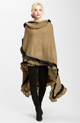 Nordstrom Faux Fur Trim Ruana. Great look with jeans and leggings